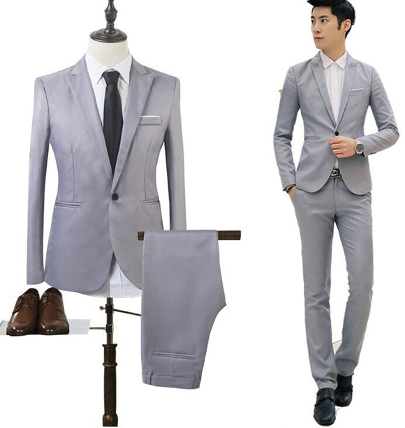 MRMT 2021 Brand New Men's Jackets Casual Suit Two-piece Suit Solid Color for Male  Long-sleeved Jacket Blazer Suit Clothing