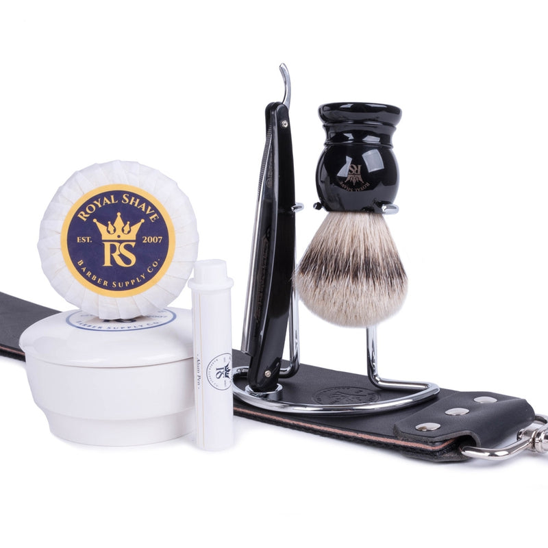 "RoyalShave Dovo 5-8"" Half Hollow Carbon Steel Straight Razor Set w- Lemon Sandalwood Shaving Soap in Ceramic Bowl"