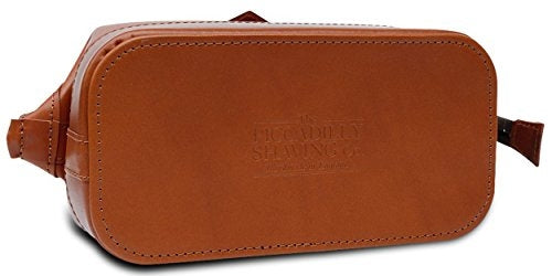 Piccadilly Gladstone Leather Washbag, Tan