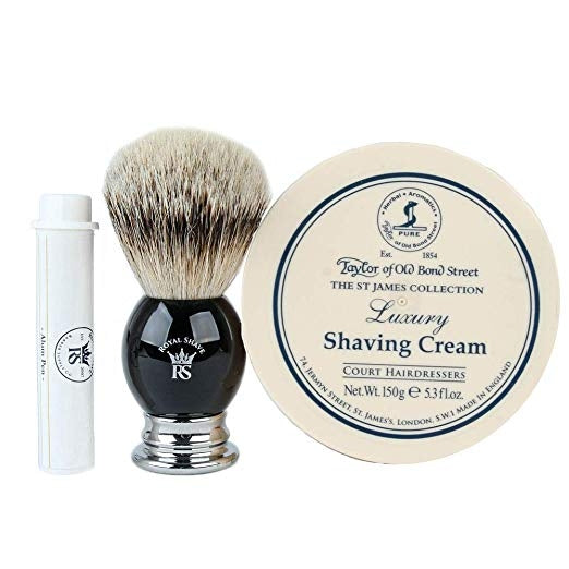 RoyalShave Shaving Brush and Taylor of Old Bond Street Shaving Cream Set