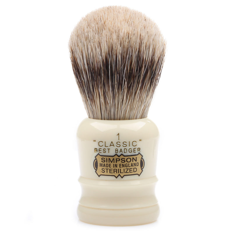 Simpson Classic CL1 Best Badger Shaving Brush - Faux Ivory Resin
