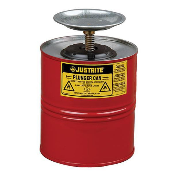 Justrite® Plunger Can - 10308Z ||4ltr capacity