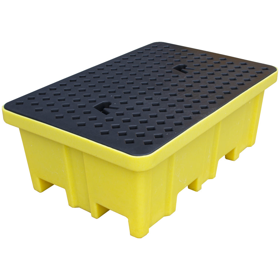 Plastic Drum Spill Pallet With 4-Way Forklift Entry - GRID SUPPORT BP2FW ||To Hold 2 Drums