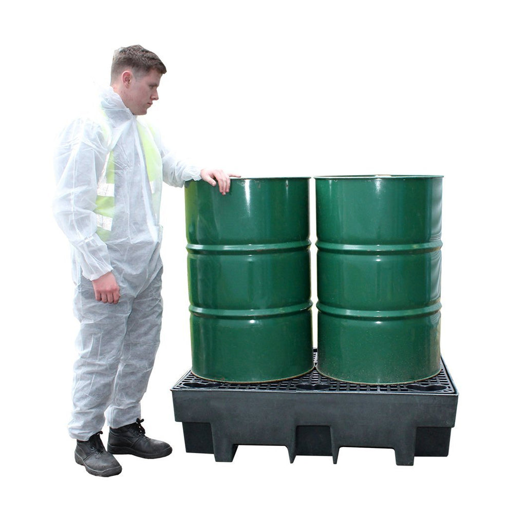 Recycled Polyethylene Spill Pallet - BP2R || To Hold 2 Drums