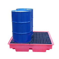 Low Profile Drum Spill Pallet (in Red Only) - BP4LRED ||For 4 Drums