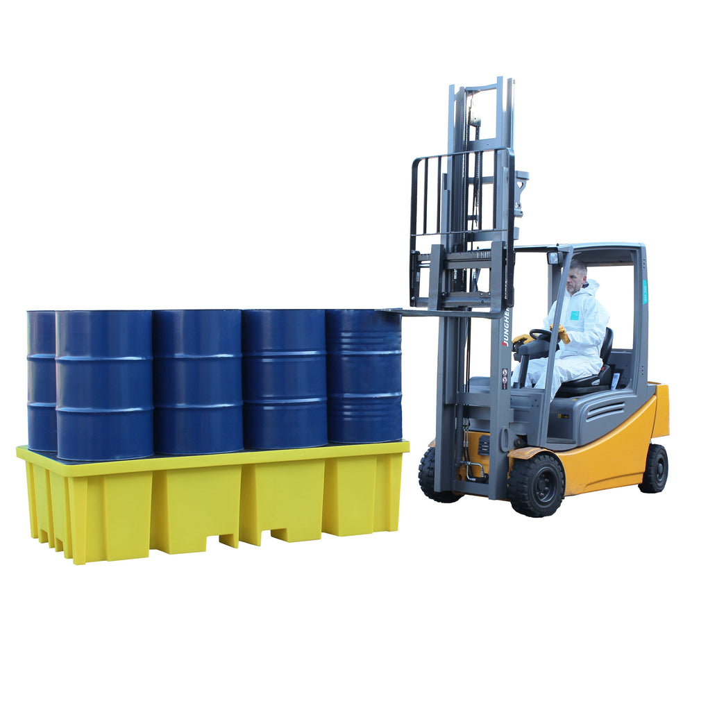 Plastic Drum Spill Pallet With 4-Way Forklift Entry - BP8FW ||To Hold 8 Drums