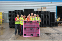 Pink Low Profile Plastic Drum Spill Pallet - BP4LP ||For 4 Drums