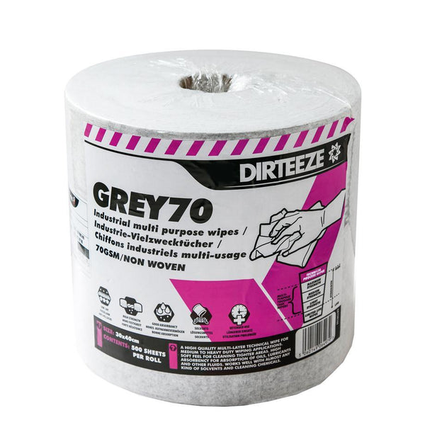 Dirteeze Industrial Technical Process Wipes - GRR500 ||500 Wipes on Roll