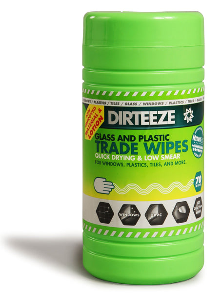 Dirteeze Glass and Plastic Trade Wipes - GDCL80 ||8 Tubs of 80 Wipes