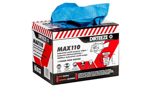 Dirteeze Heavy Duty Maximum Strength Industrial Wipes - MAX110B ||Box of 160 Wipes for Surface Cleaning