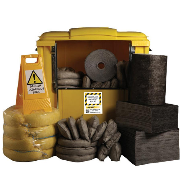 Maintenance Spill Kit Four Wheel Cart with Hinged Lid - M1000SK  || 1000ltr Absorbency
