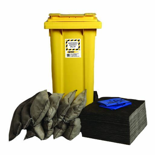 Maintenance Spill Kit Two Wheel Bin with Hinged Lid - M120SK || 120ltr Absorbency