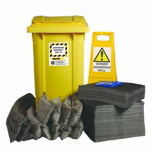Maintenance Spill Kit Two Wheel Bin with Hinged Lid - M240SK  || 240ltr Absorbency