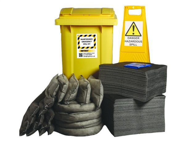 Maintenance Spill Kit Two Wheel Bin with Hinged Lid - M360SK  || 360ltr Absorbency