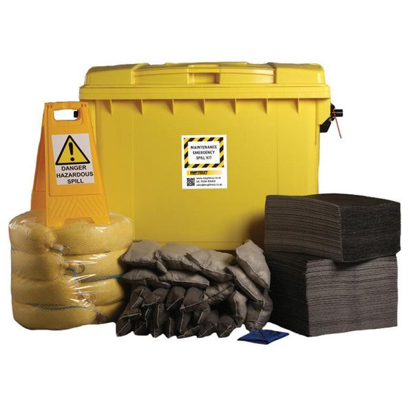 Maintenance Spill Kit Four Wheel Cart with Hinged Lid - M600SK || 600ltr Absorbency