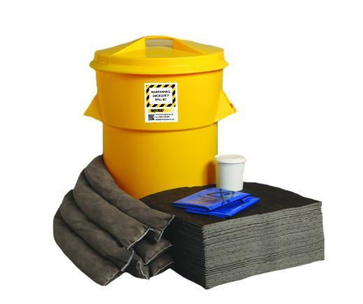 Maintenance Spill Kit Twin Handles Cylindrical Bin - M90SK || 90ltr Absorbency