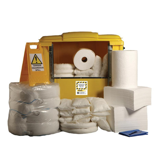 1000ltr Oil Selective Spill Kit Four Wheel Cart with Hinged Lid - OS1000SK || 400 x 50cm x 40cm pads, 8 x 3m socks, 2 x 50m rolls, 6 x 3m booms, 16 x 38cm x 23cm pillows, 1 x floor sign, 1 x hazard tape, 60 x waste bags & ties