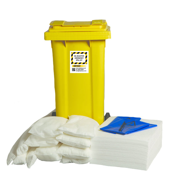 120ltr Oil Selective Spill Kit Two Wheel Bin with Hinged Lid - OS120SK || 60 x 50cm x 40cm pads, 4 x 1.2m socks, 8 x 38cm x 23cm pillows, 10 x waste bags & ties