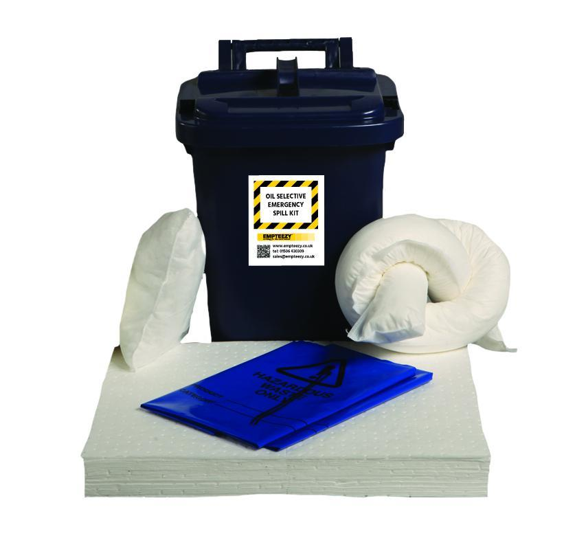 25ltr Oil Selective Spill Kit Caddy Bin - OS25SK || Absorbs Hydrocarbons but repels water