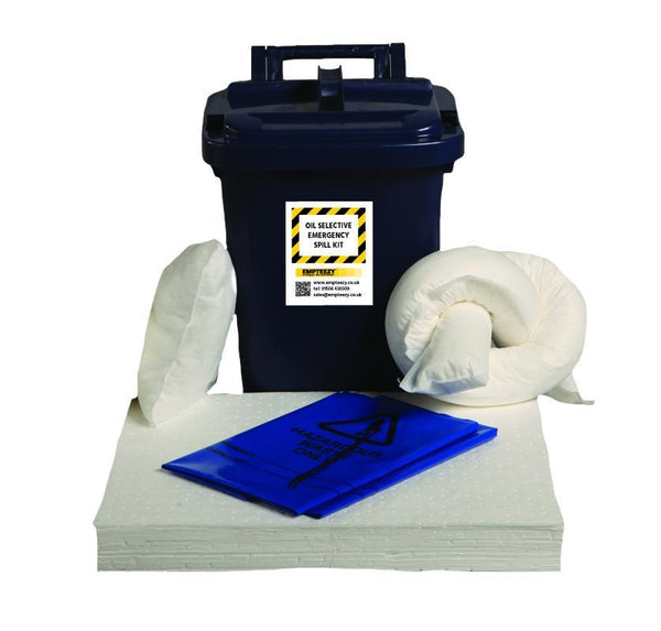 25ltr Oil Selective Spill Kit Caddy Bin - OS25SK || 17 x 50cm x 40cm pads, 1 x 1.2m sock, 2 x 38cm x 23cm pillows, 2 x waste bags & ties