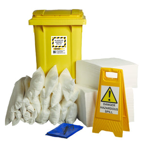 240ltr Oil Selective Spill Kit Two Wheel Bin with Hinged Lid - OS240SK || Absorbs Hydrocarbons but repels water