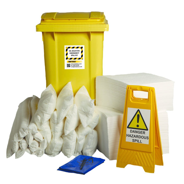 240ltr Oil Selective Spill Kit Two Wheel Bin with Hinged Lid - OS240SK || 150 x 50cm x 40cm pads, 4 x 1.2m socks, 10 x 38cm x 23cm pillows, 1 x floor sign, 1 x hazard tape, 18 x waste bags & ties