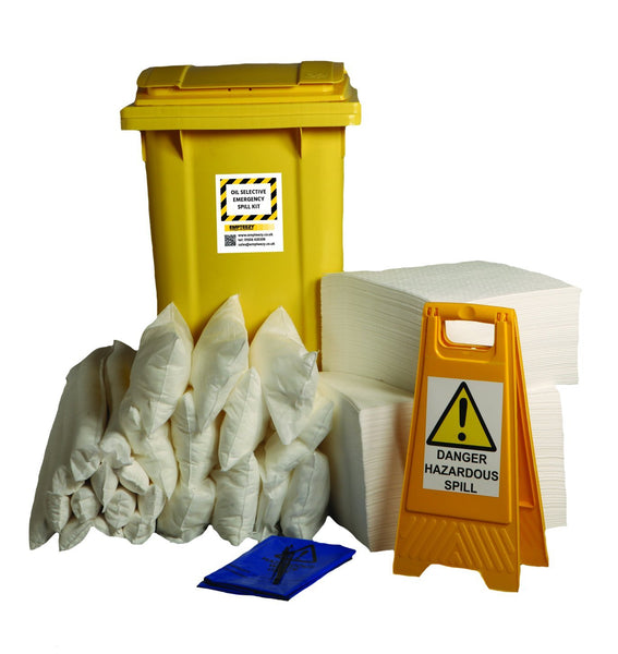 360ltr Oil Selective Spill Kit Two Wheel Bin with Hinged Lid - OS360SK || 190 x 50cm x 40cm pads, 8 x 1.2m socks, 4 x 3m socks, 16 x 38cm x 23cm pillows, 1 x floor sign, 1 x hazard tape, 24 x bags & ties