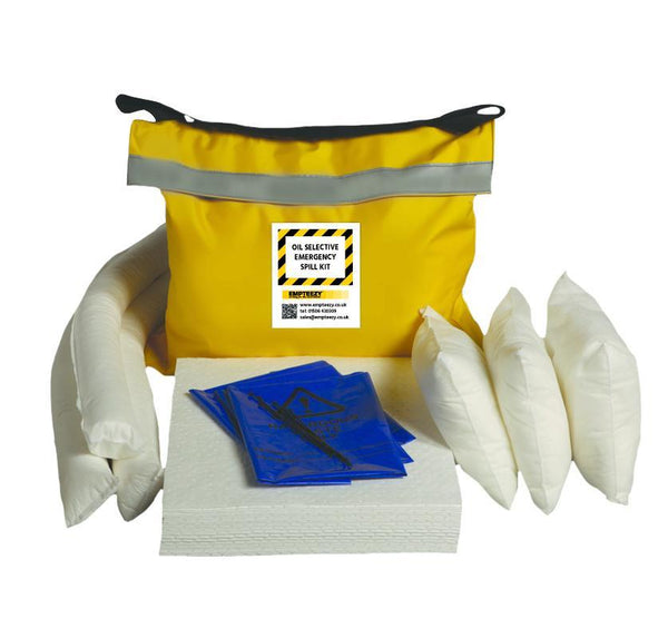 50ltr Oil Selective Spill Kit Vinyl Bag with Shoulder Strap - OS50SK || 30 x 50cm x 40cm pads, 3 x 1.2m socks, 3 x 38cm x 23cm absorbent pillows, 5 x waste bags & ties