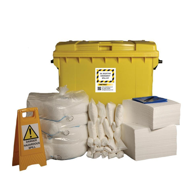 600ltr Oil Selective Spill Kit Four Wheel Cart with Hinged Lid - OS600SK ||190 x 50cm x 40cm pads, 20 x 1.2m socks, 4 x 3m booms, 16 x 38cm x 23cm pillows, 1 x floor sign, 1 x hazard tape, 40 x waste bags & ties