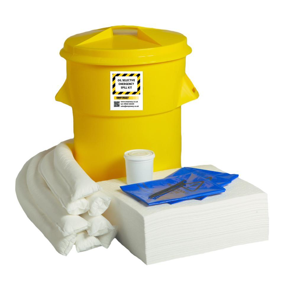 90ltr Oil Selective Spill Kit Twin Handles Cylindrical Bin - OS90SK || 48 x 50cm x 40cm pads, 8 x 1.2m socks, 1 x 1kg drum plug, 1 x hazard tape, 10 x waste bags & ties