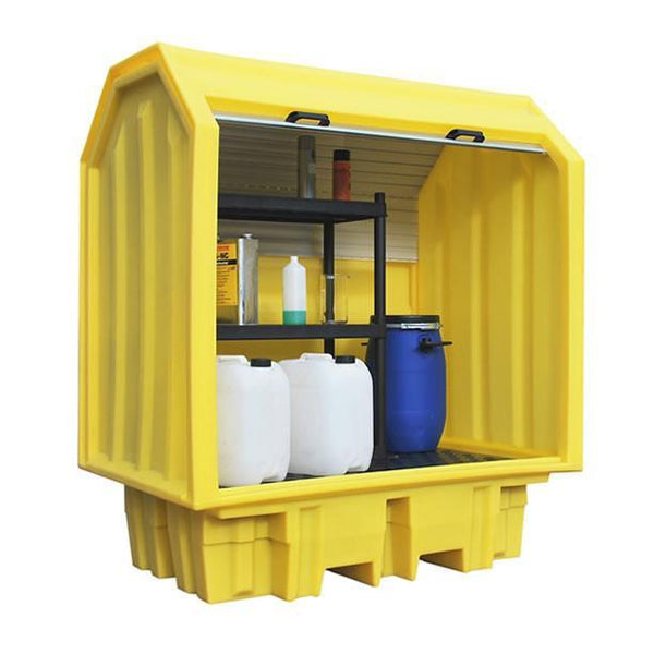 Spill Containment Pallet with Hard Cover - BP2HCS ||Small containers on shelves