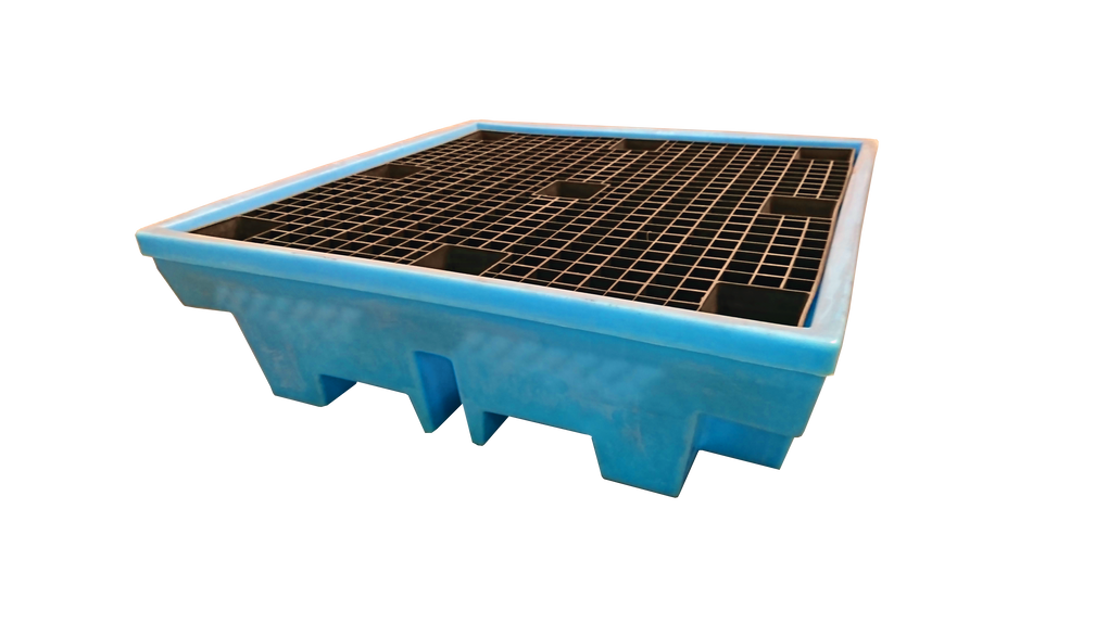 Low Profile Plastic Drum Spill Pallet (In Light Blue) - BP4LLB ||For 4 Drums