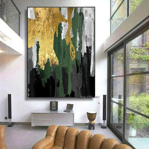 100% Hand Painted Gold Abstract Oil Painting on Canvas