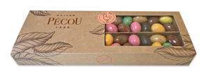 Assortment of sweets coated with chocolates Multicolored  eggs, Choc-au-nougat, Chocogianduja, dark caramel egg, Milk praline egg, maison pecou, my gourmandises, easter, paques, chocolate eggs