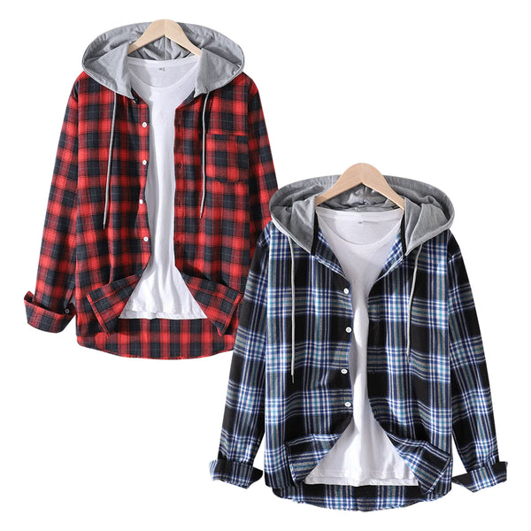 Pack of 2 Mens Plaid Curved Hem Long Sleeve Relaxed Fit Drawstring Hooded Shirts