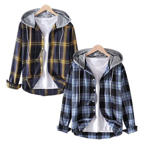 Pack of 2 Mens Tartan Button Up Long Sleeve Relaxed Fit Drawstring Hooded Shirt