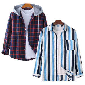 Pack of 2 Men Cotton Linen Colorful Stripe Long Sleeve Shirt