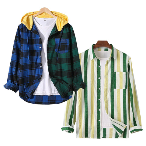 Pack of 2 Men Cotton Linen Colorful Stripe Breathable Long Sleeve Shirt