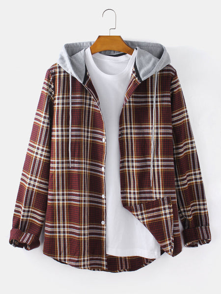 Pack Of 2 Hooded Plaid Shirt
