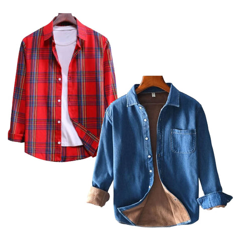 Combo Of 2 Casual Long Sleeved Shirts