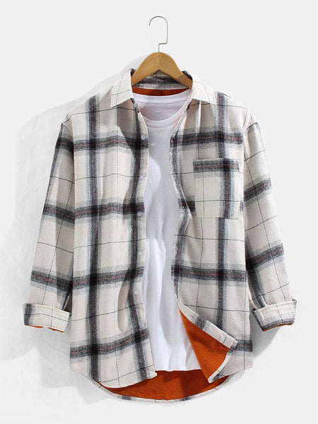 Pack of 2 Mens Plaid Patchwork Cotton Drop Sleeve Lapel Long Sleeve Shirts With Pocket