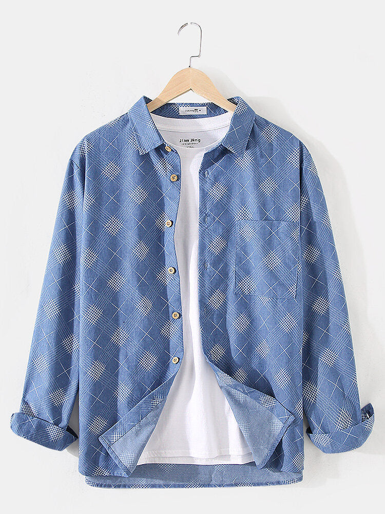 Mens Cotton Ethnic Print Faux Denim Casual Long Sleeve Shirts With Pocket