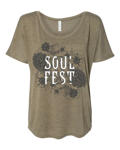 Slouchy Tee - Heather Olive