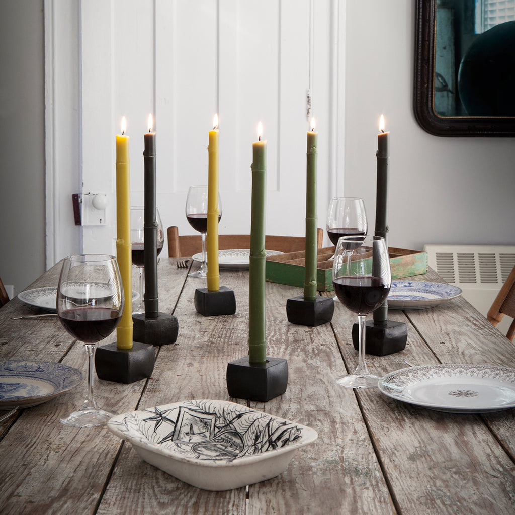 Table set with Big Island Bamboo Tapers by Greentree Home Candle