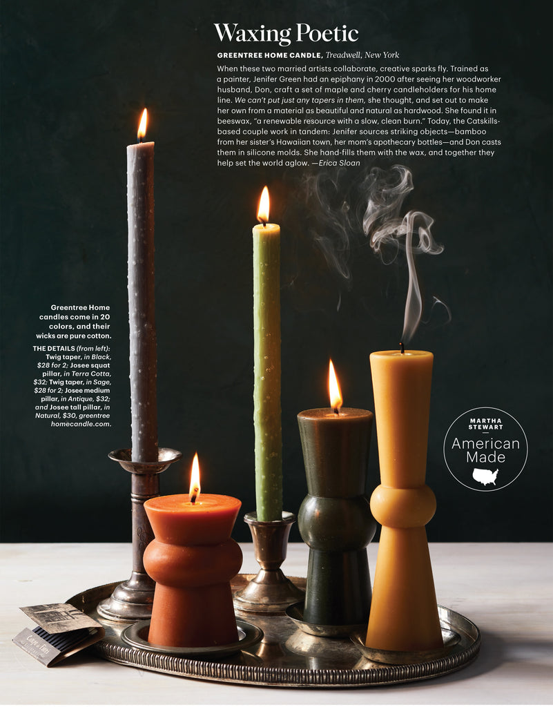 Josee Pillars by Greentree Home Candle featured in Martha Stewart Living.