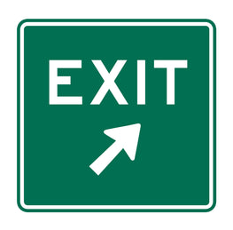 Green EXIT Sign with white lettering and a white arrow