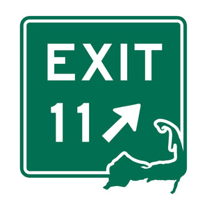 Green EXIT 11 sign with Cape Cod in the lower right corner