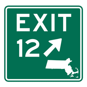 Green Exit 12 sign with a white picture of Massachusetts in the lower right side of the sign