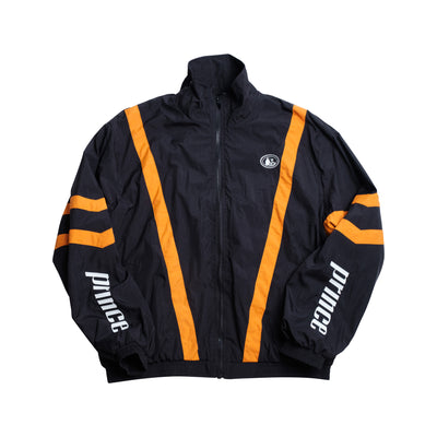 Front of black track jacket with orange stripes, pot still design on chest, prince logos on sleeves