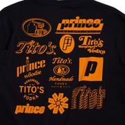 Tito's and prince logos on back in orange
